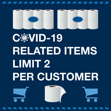 Vector Illustration Covid-19 banner with Related Items Limit 2 Per Customer text and Toilet Paper Ilustração