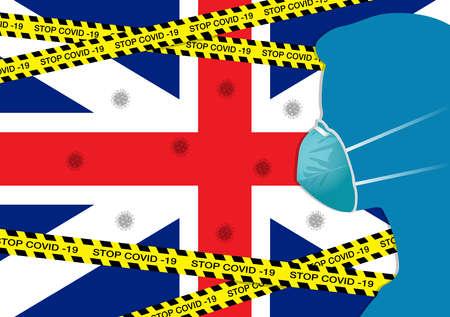 Coronavirus or Covid-19 in England Background with Men wearing medical mask, Flag of England and Black & Yellow Hazard Safety Warning Stripe Tape Vector Illustration Ilustração
