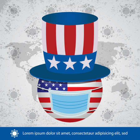Vector Illustration of Coronavirus or Covid-19 concept background with American symbol and Medical mask