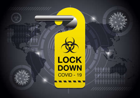 Coronavirus or Covid-19 concept background with Door handle,Door hanger and Virus icon vector illustration