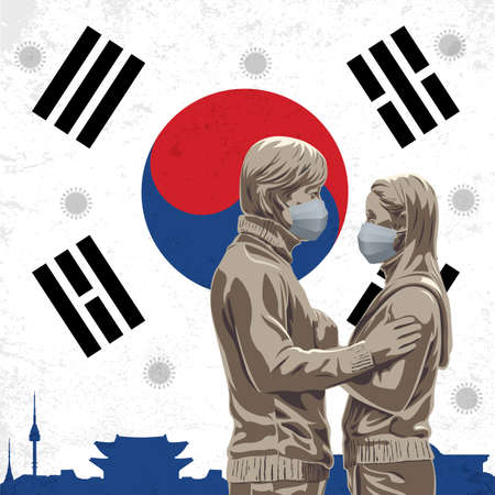 Vector Illustration of Covid-19 background with  Statue of Korean actor and actress in Nami Island wearing medical mask and South Korea flag