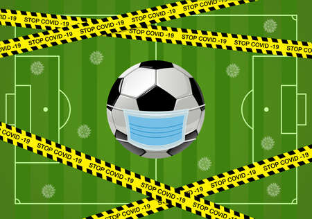 Coronavirus or Covid-19 banner in Football or Soccer Concept with Virus icon ,Warning tapes and the Soccer field Vector Illustration