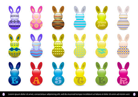 Vector illustration of Easter icon collection,different design of easter icon,colorful easter bunny icon