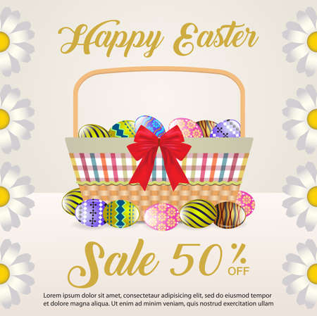 Easter sale banner with Basket and Colorful easter eggs Vector Illustration
