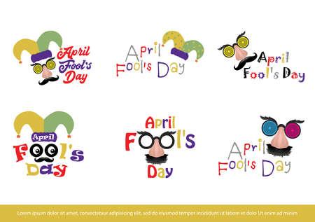 Set of April fool's day logo design, sticker, Label element Vector Illustration