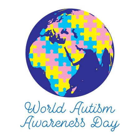Vector illustration of  World Autism Awareness Day banner Ilustração