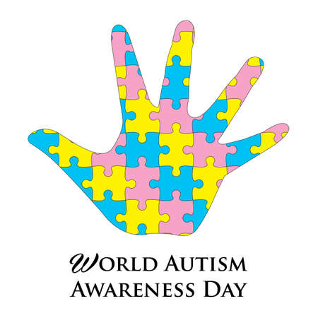Vector illustration of  World Autism Awarenesss Day banner with Colorful jigsaw and hand