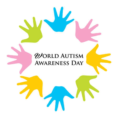 Vector illustration of  World Autism Awarenesss Day banner with Colorful hands 일러스트
