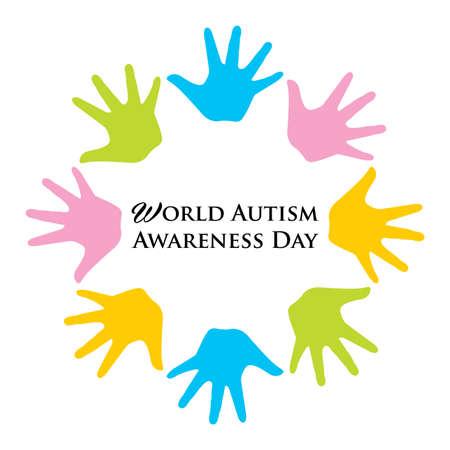 Vector illustration of  World Autism Awarenesss Day banner with Colorful hands Ilustração
