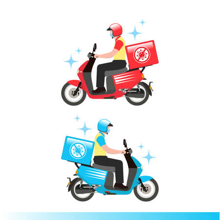Delivery service ride scooter motorcycle with face mask and stop Covid-19 symbol. Flat design vector illustration.