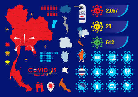Coronavirus or Covid-19 element icons set and Thailand map Flat design vector illustration. 일러스트