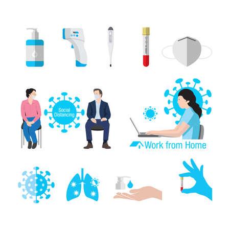 Coronavirus or Covid-19 element icons set. Flat design vector illustration. Ilustração