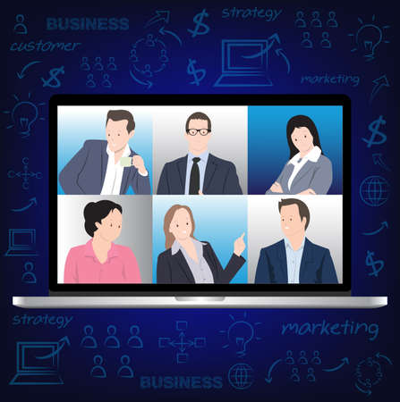 Desktop computer with group of People in Online meeting, Conference online, Live chat. Online Chat with Social Network.  Vector illustration in flat style