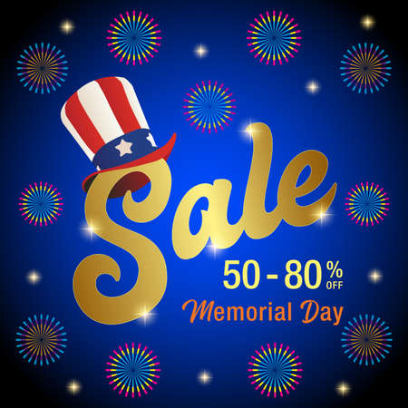 Vector Illustration for Memorial Day Sale Banner, Memorial Day Sale Text with Uncle Sam Hat Vector Image 일러스트