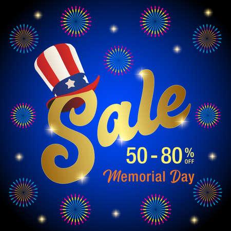Vector Illustration for Memorial Day Sale Banner, Memorial Day Sale Text with Uncle Sam Hat Vector Image Ilustração