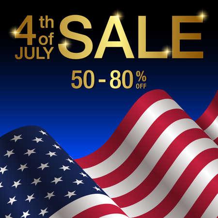 4th of july sale banner,Independence day of United States of America  sale Background vector illustration Ilustração