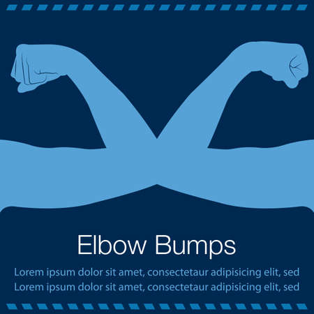 Elbow bump, informal greeting where two people touch elbows. Vector illustration in flat style