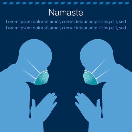 Vector illustration of namaste replacing handshake for stop virus spreading.