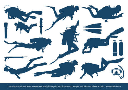 Set of scuba diver silhouette vector illustration