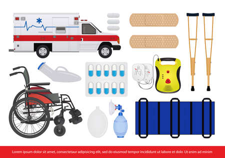 medical healthcare tools and equipment vector image