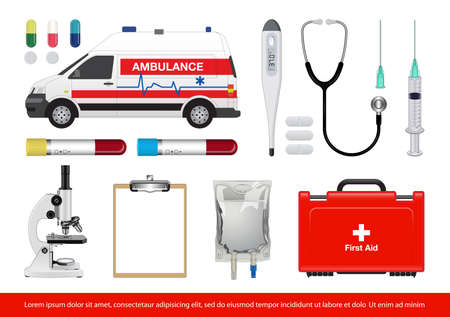 Vector illustration of medical healthcare tools and equipment