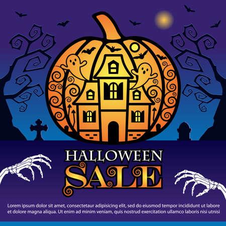 Vector Illustration for Halloween Sale Banner
