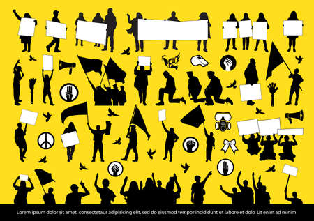 Protest people silhouettes set. Vector illustration