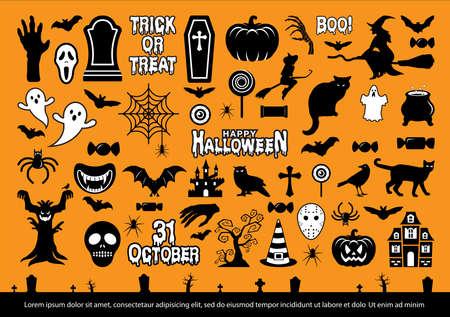 Halloween icons set. Vector illustration