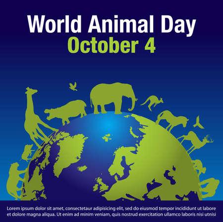 World Animal Day on October 4. Vector illustration. Ilustração