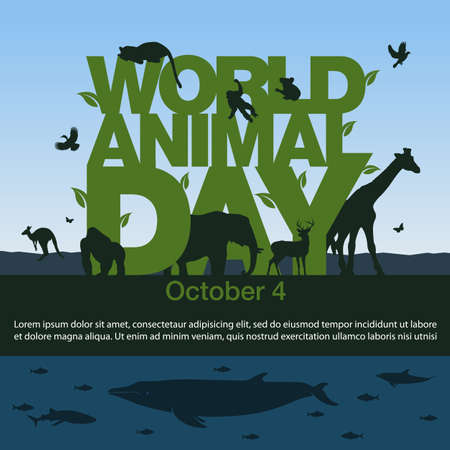 Vector illustration for the World Animal Day on October 4.
