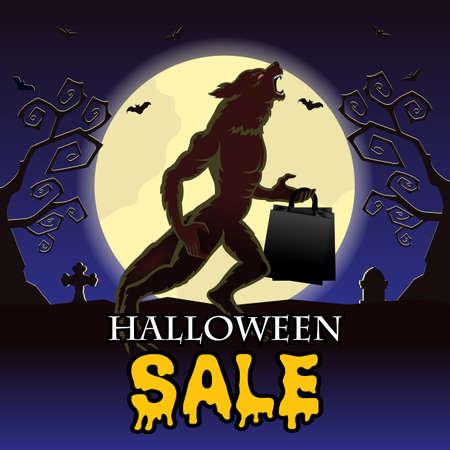 Vector Illustration for Halloween sale banner layout design