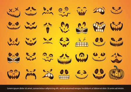 Set of halloween pumpkin faces vector design Ilustração