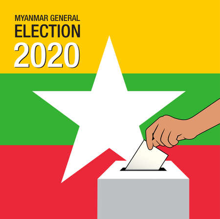 Myanmar general election 2020. Poster, card, banner and background. Vector illustration
