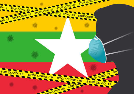Coronavirus or Covid-19 in Myanmar Backgrond with Men wearing medical mask, Flag of Myanmar and Black & Yellow Hazard Safety Warning Stripe Tape Vector Illustration 일러스트