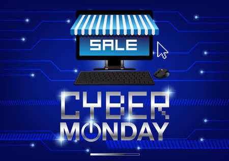 Cyber Monday sale background vector illustration