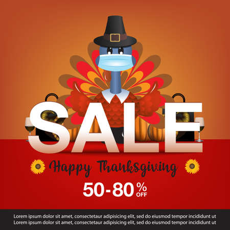Happy thanksgiving day sale banner vector illustration 일러스트