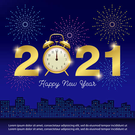 Happy New Year 2021 Concept Background for Greetings Cards or Invitations. Vector Illustration