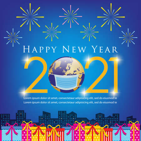 Happy New Year 2021 Concept banner template. Vector Illustration