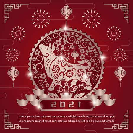 Chinese New Year 2021 Template Background for Greetings Cards or Invitations. Vector Illustration