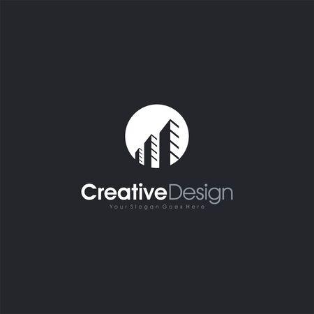 real estate city building company logo template - skyscrapers landscape silhouette - letter symbol business company vector icon