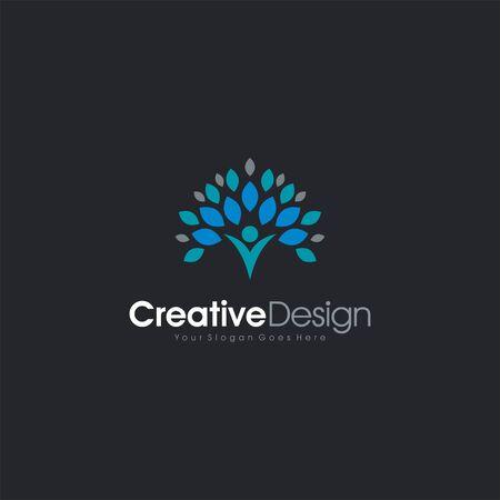 Vector Natural Logo Icon Letter V People letter symbol business company vector icon Illusztráció