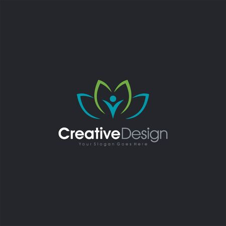 Yoga logo vector emblem V logo people letter symbol business company vector icon Illusztráció