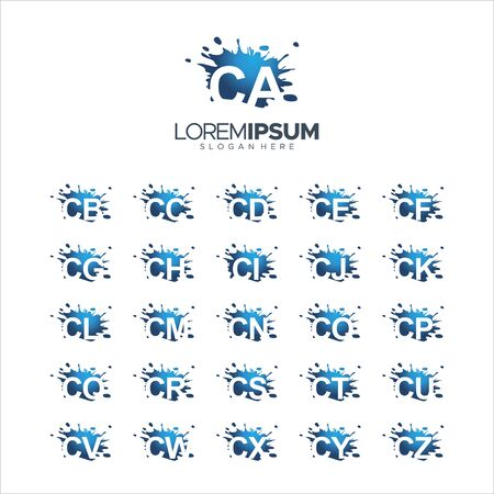 illustration Vector 100% edit Splash Brush vector letter CA - CZ Logo Vector Illustration 10 EPS Ilustração