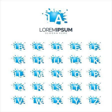 illustration Vector 100% edit Splash Brush vector letter LA - LZ Logo Vector Illustration 10 EPS Logó