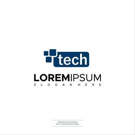 Illustration Vector Technology Tech Logo Icon Vector Abstract Logo Design Çizim