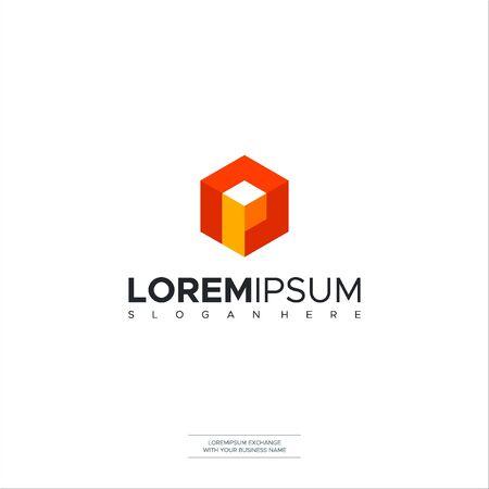 Letter P Cube logo icon design template elements. Vector color sign Logo