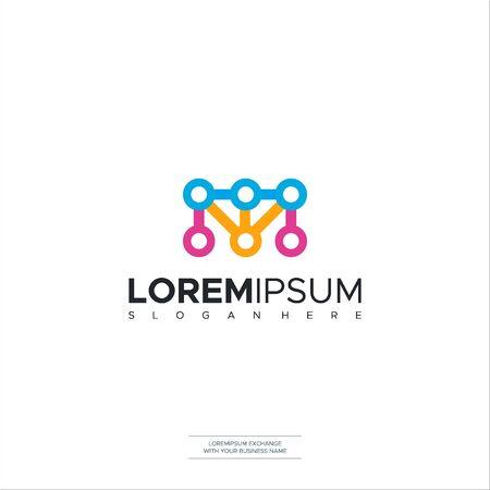 M letter Dots logo icon illustration vector design Vector Illustration Logo