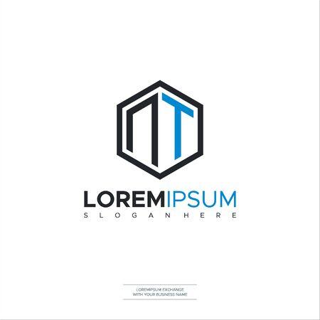 Logo NT Polygon geometric letter logo design vector. Hexagon logo concept for business Design