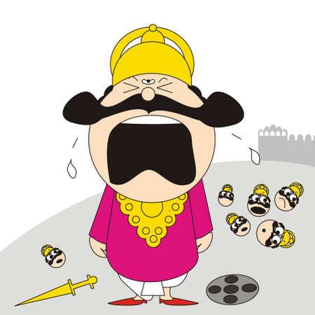 dussehra: Crying Ravan Illustration