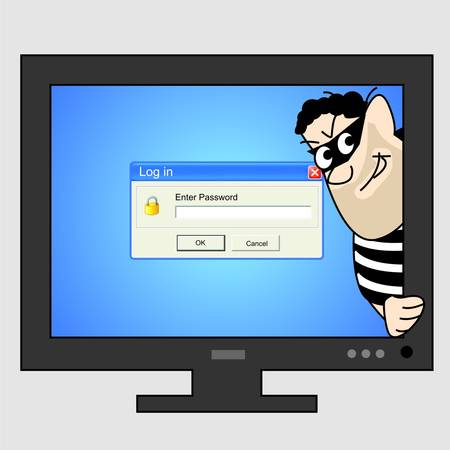 A thief inside Computer Monitor Stock Vector - 14930271